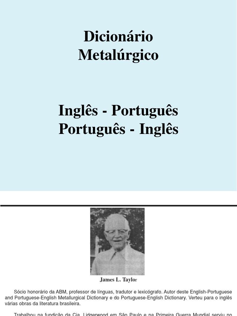 Dicionario metalurgico Inglês - Portugues 70a9c942c9d