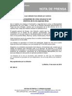 NP. 006-14 Municipalidad de Lima renueva la red eléctrica de la vía expresa Grau
