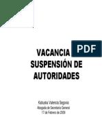 vacancia y suspensión