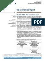 "Credit Suisse, US Economics Digest, Jan 12, 2014. ""The 2014 FOMC - New Faces, Same Taper"""