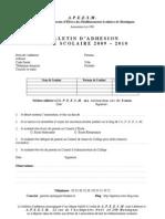 Bulletin adhésion APEESM 2009-2010