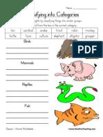 ryhhy  Animal Classification Worksheet