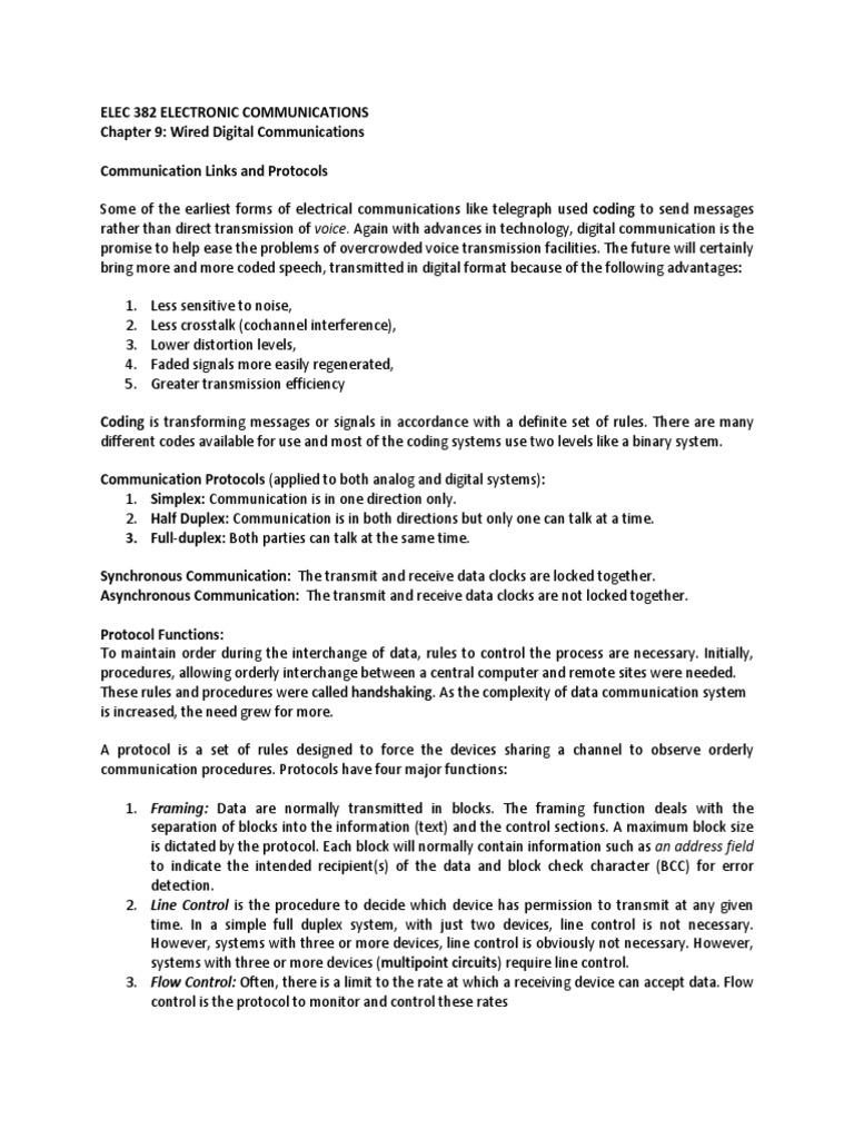ELEC 382 Notes 13 Wired Digital Communication | Modulation ...