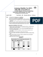 DBT BET Question Paper 2012 with Answer Key