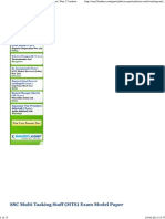 SSC Multi Tasking Staff (MTS) Exam Model Paper