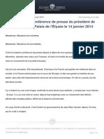 Ouverture de La Conference de Presse Du President de La Republique Au Palais de l Elysee Le 14 Janvier 201