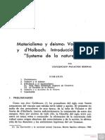 Materialismo y Deismo. Voltaire y dHolbach. Introduccion Al Systeme de La Nature