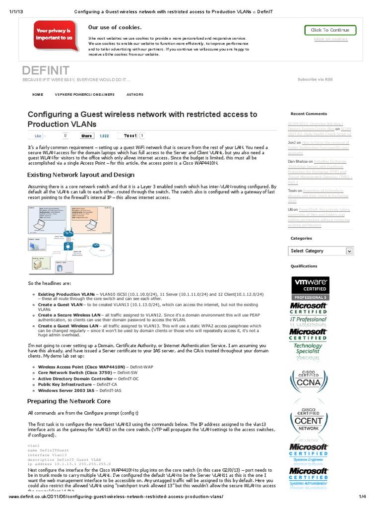 Configuring a Guest Wireless Network   Wireless Lan
