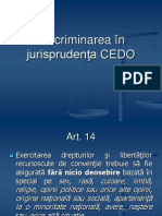 Discriminarea in Jurisprudenta CEDO