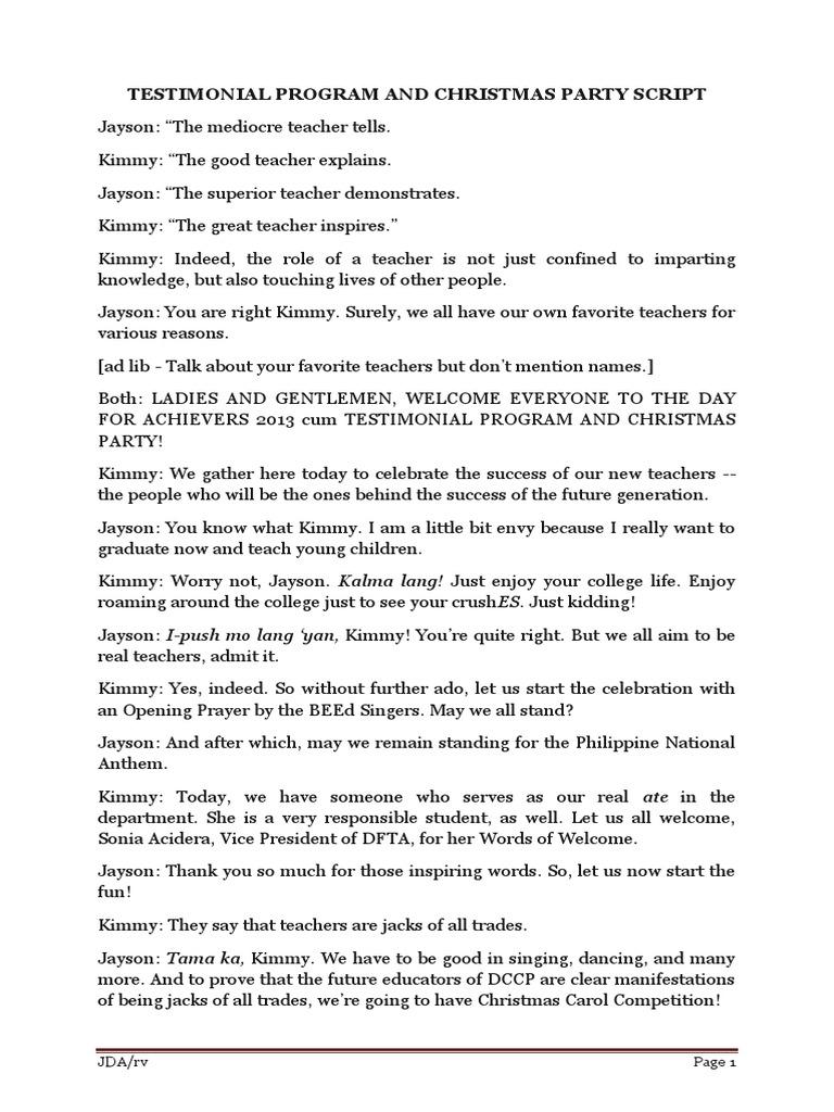 Testimonial Program and Christmas Party Script | Leisure