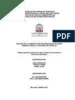 ANALISIS DE LA COMUNICACIÓN ORGANIZACIONAL DE SUPER TIENDAS LATINO C.A. SUCURSAL DR. PORTILLO