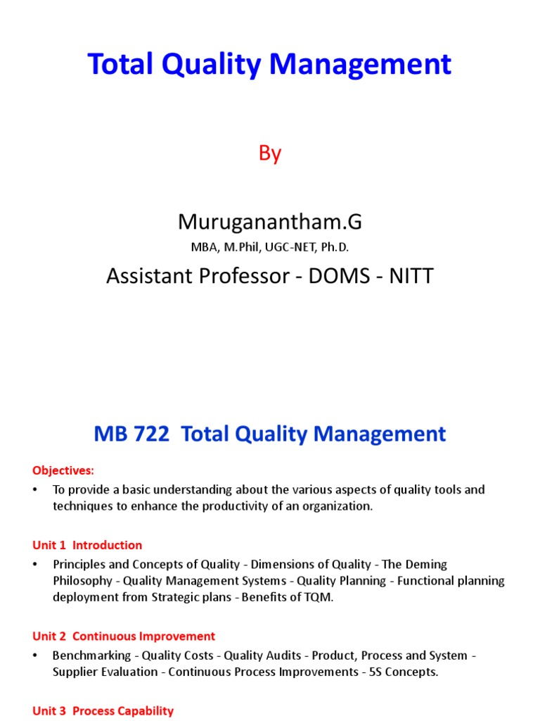 Tqm ppt Part 1 2013 Student Copy | Quality Management | Benchmarking