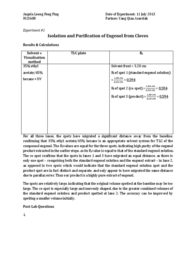 isolation of eugenol from cloves by Isolation and characterization of 4-allyl-2  eugenol and eugenol acetate the progress of isolation of the crude oil was  oil produced by cloves can be used.
