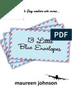 13 pequeños sobres azules