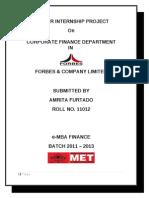 Summer Internship Report 2012 Forbes and Company Ltd