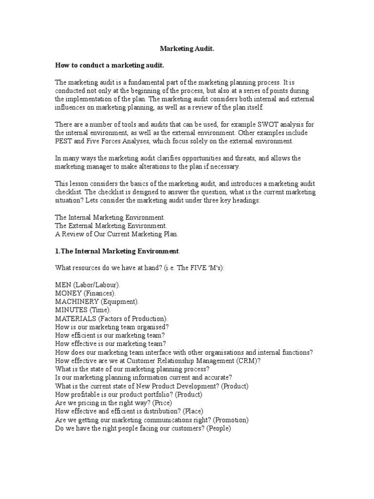 Marketing Audit   Swot Analysis   Marketing  Example Swot Analysis Paper