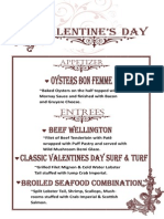 Valentine's Day Specials in addition to our regular menu  2014