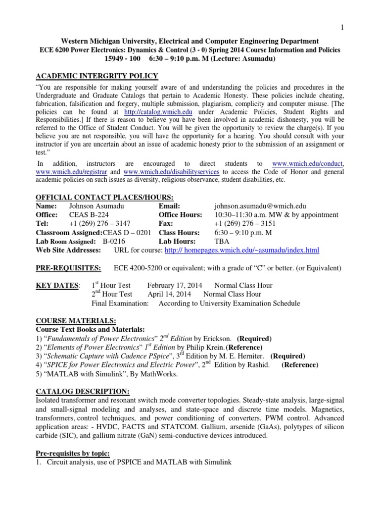 Ece6200 Spring14 Course Outline Power Electronics Academic Electronic Circuits Analysis By Rashid Pdf Dishonesty