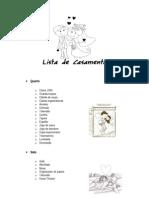 Lista de Casamento Detalhada
