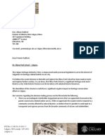 Calgary Heritage Authority letter to Premier Alison Redford