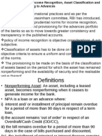 Prudential Norms on Income Recognition, Asset Classification