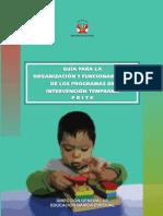 GUÍA PARA LA ORGANIZACIÓN Y FUNCIONAMIENTO DE LOS PROGRAMAS DE INTERVENCIÓN TEMPRANA - PRITE