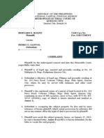 Prac Complaint ejectment case sample