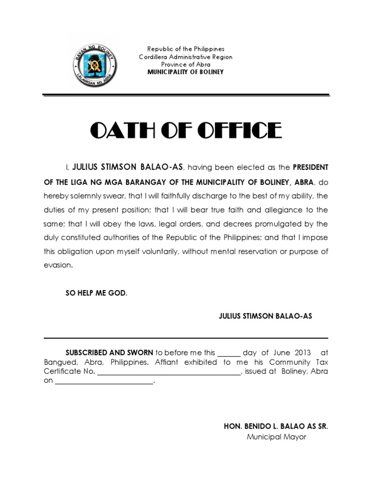 Beautiful Oath Of Office Template Image   Example Resume Ideas .