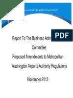 MWAA Proposed Regulation Changes - Nov 2013