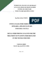 Fotocatalizatori Oxidici Pentru Epurarea Apelor Uzate Din