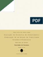 Avaliação de Projectos de Investimento - Elaboração de um Estudo de Viabilidade Económico-Financeira