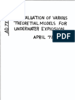 Evaluation of various theoretical models of underwater explosions