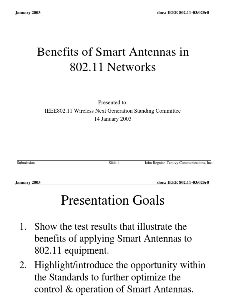 11 03 0025 00 0wng Benefits Of Smart Antennas In 802 Networks Ieee 80211 Electromagnetic Interference