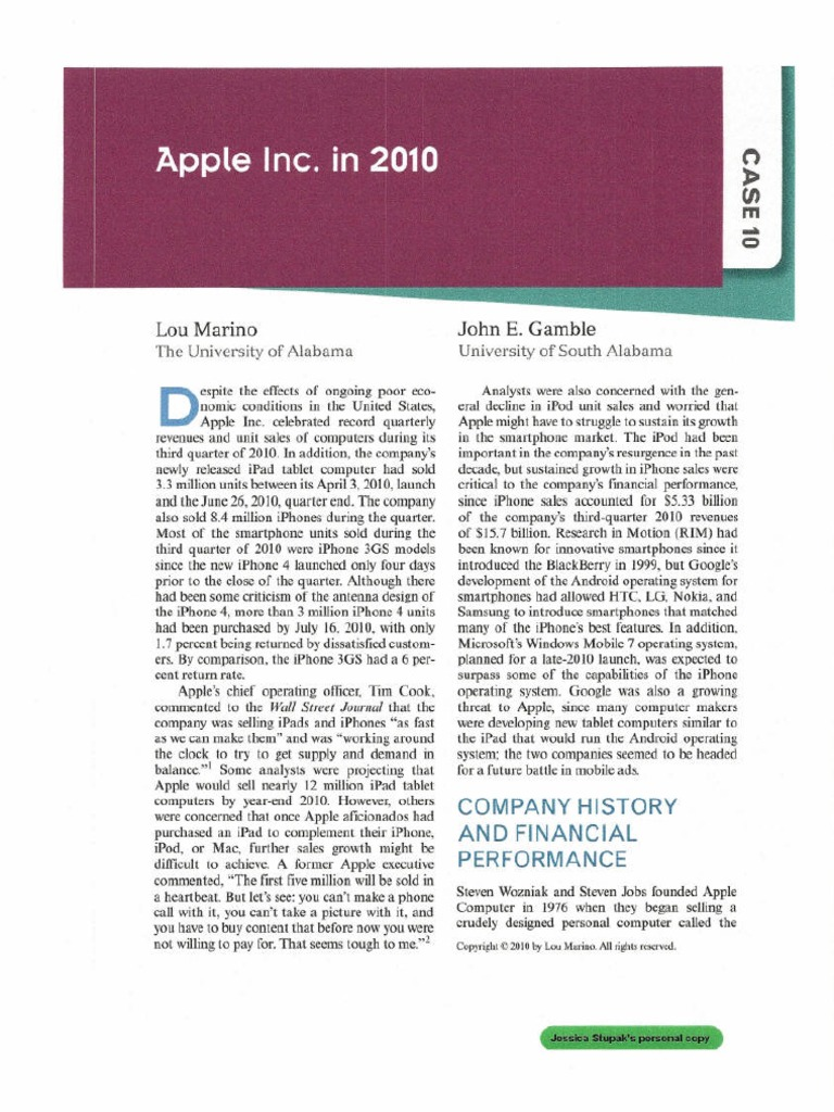 case of study apple Case study: apple apple's profile apple inc (hereafter apple) was established in 1977 and is registered on the nasdaq global select market exchange according to its form 10-k 'apple designs, manufactures and markets mobile communications, media devices, personal computers and portable digital music players,.