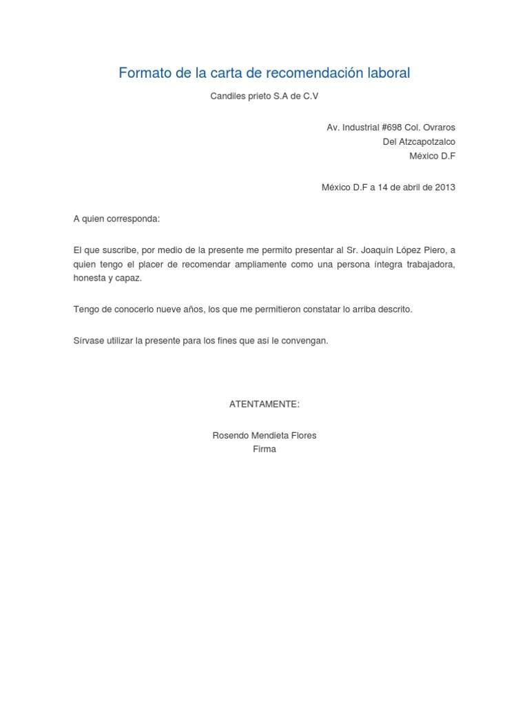 carta recomendacion personal