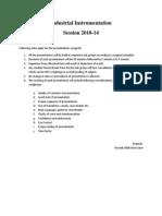 Industrial Instrumentation Instructions