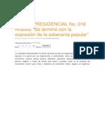 DECRETO PRESIDENCIAL 016 ANALISIS