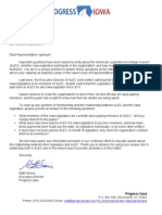 Progress Iowa Request to Representative Upmeyer