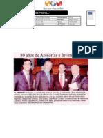 Celebracion 80 años, Asesorias e Inversiones en el diario Nuevo Siglo