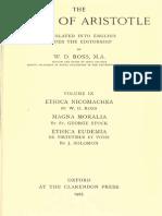Aristotle 09 - Ethica Nicomachea - Magna Moralia - Ethica Eudemia - Ross