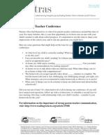parent teacher conferences letter