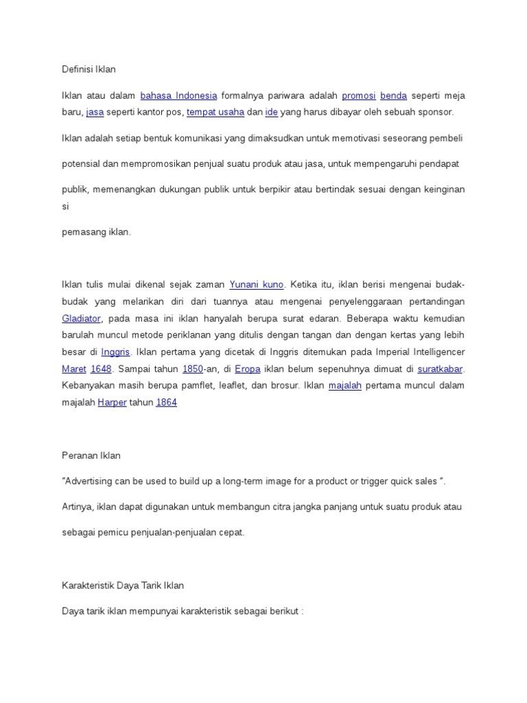 Bahasa Indonesia Promosi Benda Jasa Tempat Usaha Ide