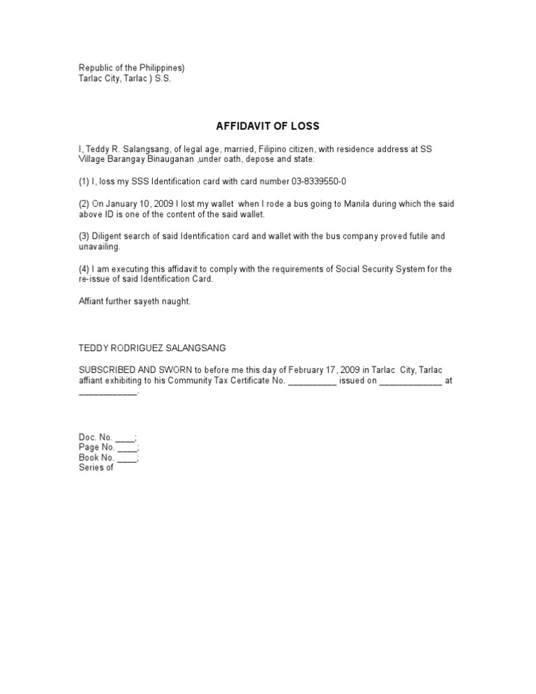 Perfect Affidavit Of Loss Intended For Affidavit Of Loss Template