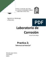 Lab. Corrosión, Diferencia de potencial.