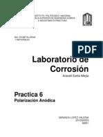 Lab. Corrosión, Polarización anódica