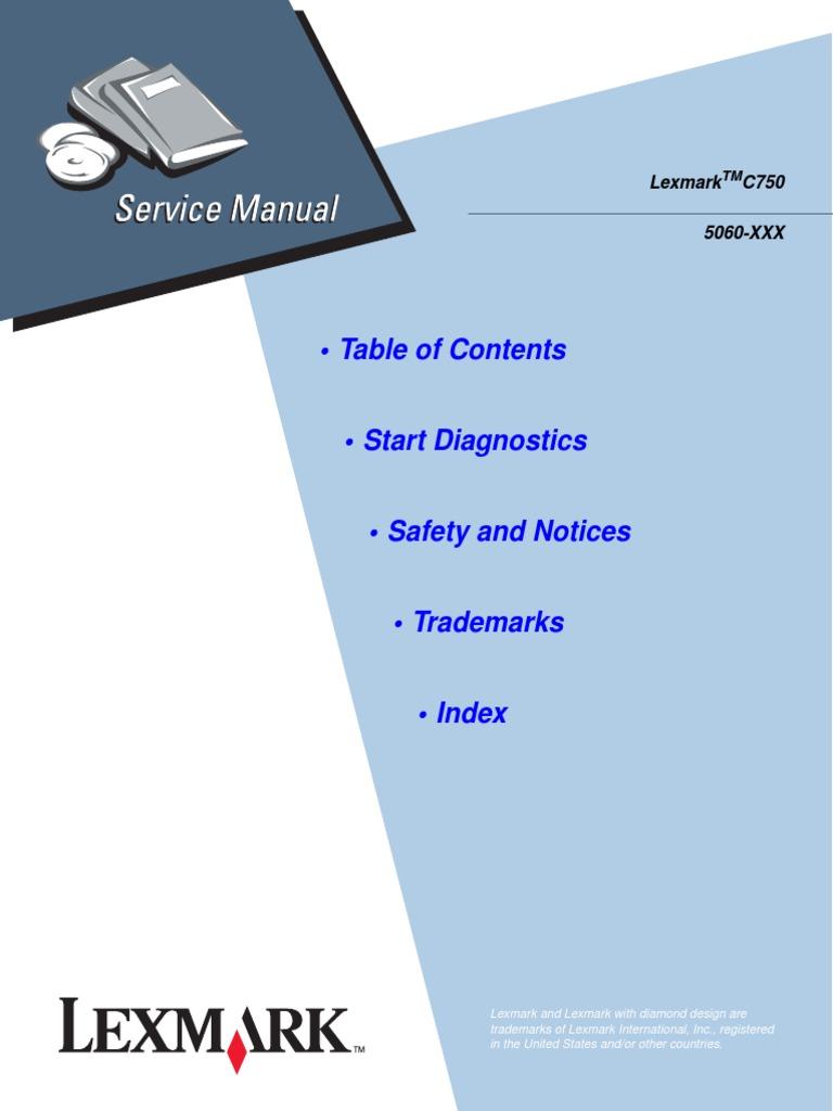lexmark c750 color laser printer service repair manual