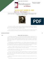 Heidegger en Castellano - La Tesis de Kant Sobre El Ser