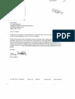September 2011 letter from Alison Redford re