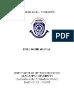 M.S.W. Paper 2.5 Field Work - Manual