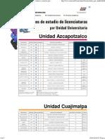 UAM. Universidad Autónoma Metropolitana. Licenciaturas y carreras por Unidad Universitaria